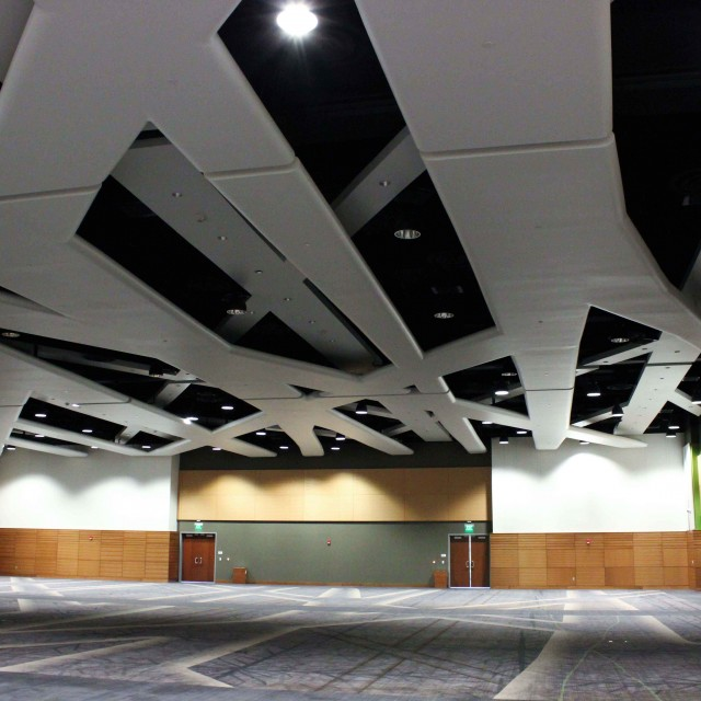 Large ballroom with a floating ceiling fixture and carpet